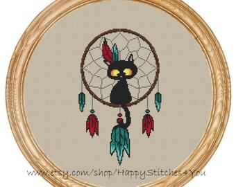 Cross Stitch Pattern PDF cat dream catcher DD0196