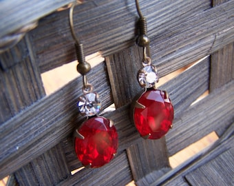 Vintage Style Red Clear Glass Oval Dangle Earrings