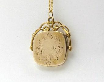 Vintage Locket Necklace | '1/4 Gold Shell' Locket Pendant