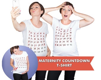 Week by Week Maternity Countdown T-shirt Weekly Calendar Tee Pregnancy bump T-shirt