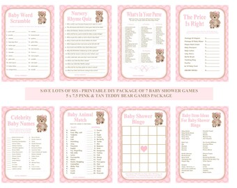 Pink Teddy Bear Baby Shower Game, Printable Teddy Bear Baby Game, Pink Bear Game, Teddy Bear Shower Game, Bear Game - Printables 4 Less