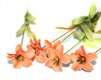 5 Salmon Peach Daisy Stems - Arificial Flowers - PRE-ORDER