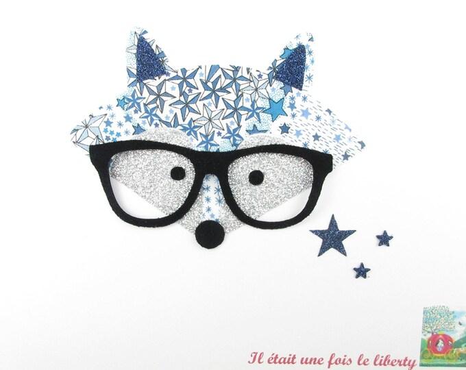 "Applied fusible Fox ""Mister Foxy"" liberty Adelajda blue - glitter flex patch Fox iron escutcheon Fox iron on"