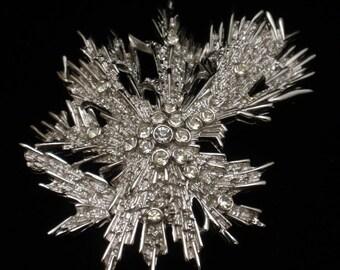 Trifari Pin Rhinestones Free Form Snowflake Ice Crystals