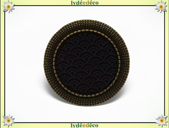 Round ring retro vintage Japan Asian motif Arabesque adjustable brass diameter 20mm resin black gray