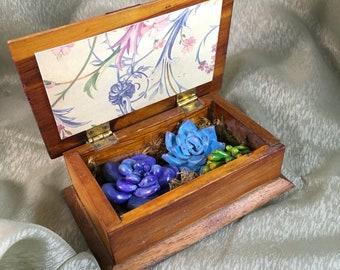 Succulents Planter- Home Decor, Faux Plant, Miniature Sculpture, Succulent Gift, Wooden Box, Bookshelf, Tabletop, Centerpiece, Mantle Decor