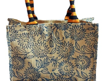 Ritzy Stripes! Jute Burlap Medium Shopping Bag! Tote! Eco-fashion!