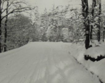 Vintage Winter Photo - Snow Covered Road