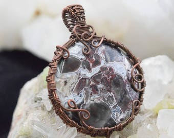 Crazy Lace Agate - Wire wrapped oxidized copper wire pendant