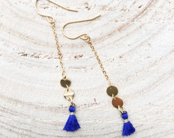 Gold plated coins coral tassel earrings