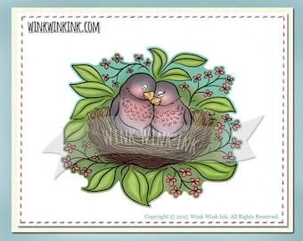 Digital stamp - Our Nest is Best - love birds printable digi image