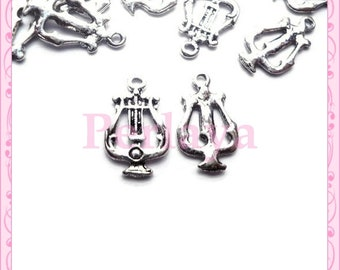 Set of 20 small REF026X4 silver harp charms