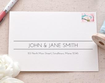 Printable A7 Envelope Address Template Hand-Lettered Wave