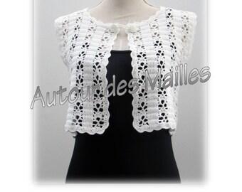 White Crochet Bolero vest