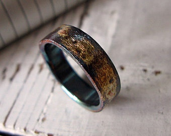 Mens Wedding Band Mens Comfort Fit Wedding Ring Oxidized Silver 6mm Black Gold Ring Unique Mens Wedding Band Viking Wedding Ring Man Wedding