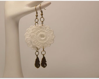 White Doily Lace Trim Vintage Style Earrings, Small Antique Bronze/Brass Feather Charms, Vintage Style
