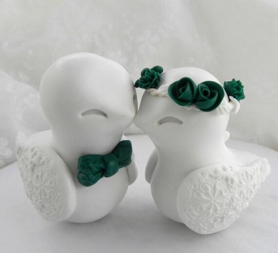 Love Birds Wedding Cake Topper, White and Emerald Green, Bride and Groom Keepsake, Fully Custom