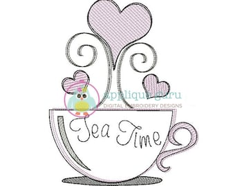 Tea Time Machine Embroidery Lightstitching/Doodle Design