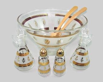 Hazel Atlas Gold Wheat Glass Serving Set, Golden Wheat Salad Bowl, Oil and Vinegar Cruets, Salt and Pepper, Wood Spoon and Fork