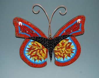 Mosaic butterfly in tones of orange black and red to hang on your wall.FREE shipping