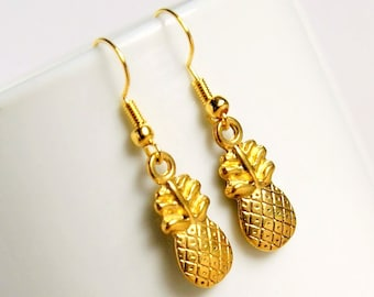 pineapple earrings, gold drop earrings, dangle earrings, gift for her, gift for women
