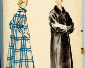 1950s VOGUE 9022 COAT PATTERN Shawl Collar Long Coat with Push-Up Sleeves Top Button Closing Bust 36 Size 16 Vintage Womens Sewing Patterns