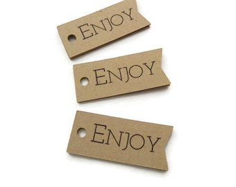 Enjoy Tag -  50 Count - Product Tag - Hang Tags - 1.75 x 0.75 inch - Kraft Tag - Flag Tag - Holiday Tags - Favor Tags - Jewelry Tags TY16