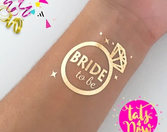 One (1) Bride to be Diamond Bachelorette party,gold tattoo,bachelorette tattoo**Bride to be** Gold Tattoo, temporary tattoo, Hen party