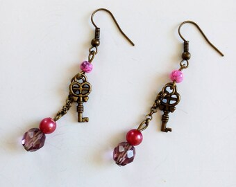 DESTASH beads bronze earrings pink and purple and small key