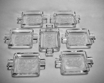 Etched Rose Crystal vintage set of 7 personal Ash Trays or trinket dishes