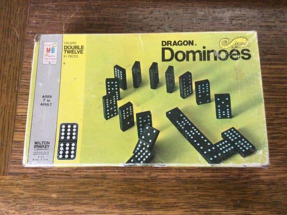 Vintage Dragon Dominoes from 1970, 1970 Milton Bradley's Halsam Double Twelve dominoes, vintage dominoes game, Dragon dominoes, vintage gift
