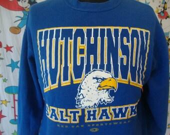 Vintage 90's Hutchinson Salt Hawks blue crew neck Sweatshirt Size L