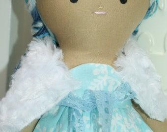 Handmade Cloth Doll - Winter/ice/frozen/blue/ooak