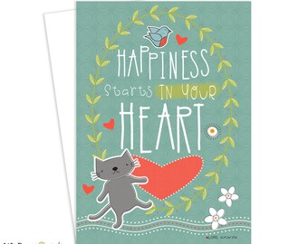 Greeting Card, Friendship, Inspirational Art, Greeting Card, Cat, Spring, Happiness