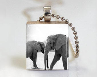 Gray Elephant Safari Africa - Scrabble Tile Pendant - Free Ball Chain Necklace or Key Ring