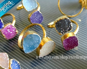 Druzy ring, 12% off Gold plated edge Double Druzy agate Ring, adjustable ring Druzy jewelry, Gemstone ring.-JSR-5008