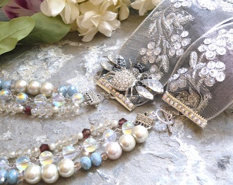 long necklace, glass pearl necklace, ribbon necklace, wedding necklace, antique brooch necklace, vintage brooch necklace, bijouxgeisha