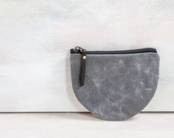 grey waxed canvas pouch