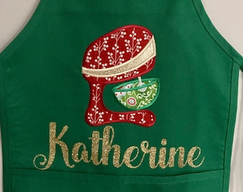 Christmas Baking Kids Personalized Apron - Cookies for Santa- Appliqué Embroidery