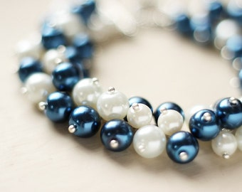 Navy Blue and White Pearl Cluster Bracelet - Navy