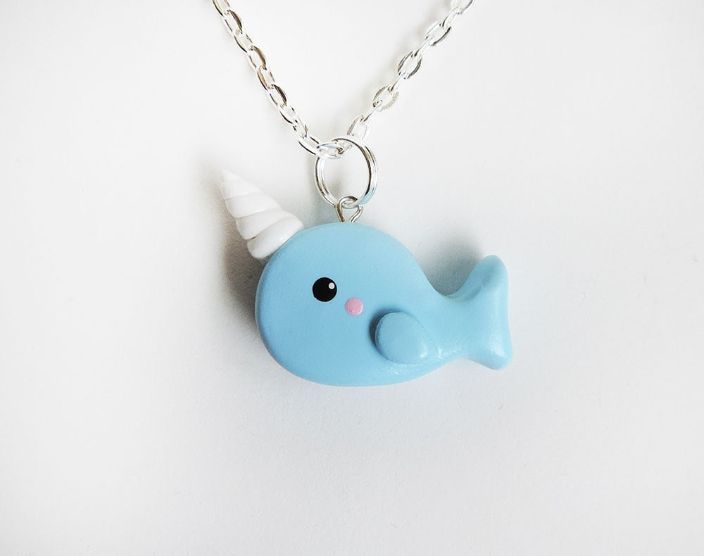 Polymer clay blue narwhal charm necklace mozeypictures