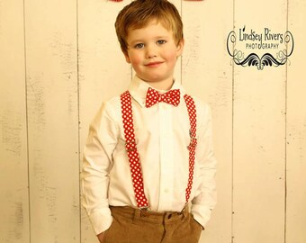 Red and White Polka Dot Bow Tie and Suspender set (  Men, boys, baby, toddler, infant) outfit