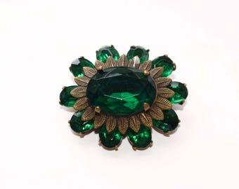 Vintage Brooch, Green Vintage Brooch, Vintage Green Rhinestone Brooch