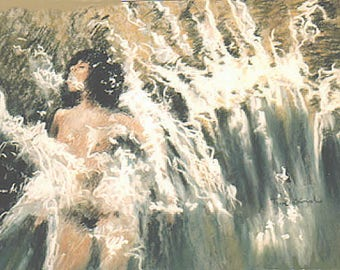 Drawing/sketched Pastel. Freedom, water games  in the wave, her nudity hidden by the foam  on ingres paper Naked girl in the foam. 50cmx40cm