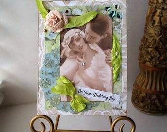 Handmade Card Vintage style Wedding Bride Card Romance shower Handmade Victorian Green