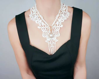 large white lace necklace / gold chain crystal charm necklace / vintage gothic bib / elegant romantic lace accessory / jewelry gift