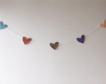 SALE - Felt Heart Garland - Home Decor - Banner - Wedding - Anniversary - Valentine's Day - Party Decoration