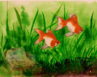 Gold Fish. Set of 8 Note Cards and Framed Wall Art. Reproductions of original watercolor paintings. Two Fish.  Gold Fish in Water.