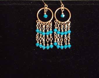 Copper and Swarovski crystal shandeler earrings