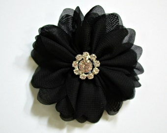 "Black Chiffon Flowers. 3"" Chiffon Flowers with Glass Rhinestone Center. QTY: 1 Flower ~Brea Collection"